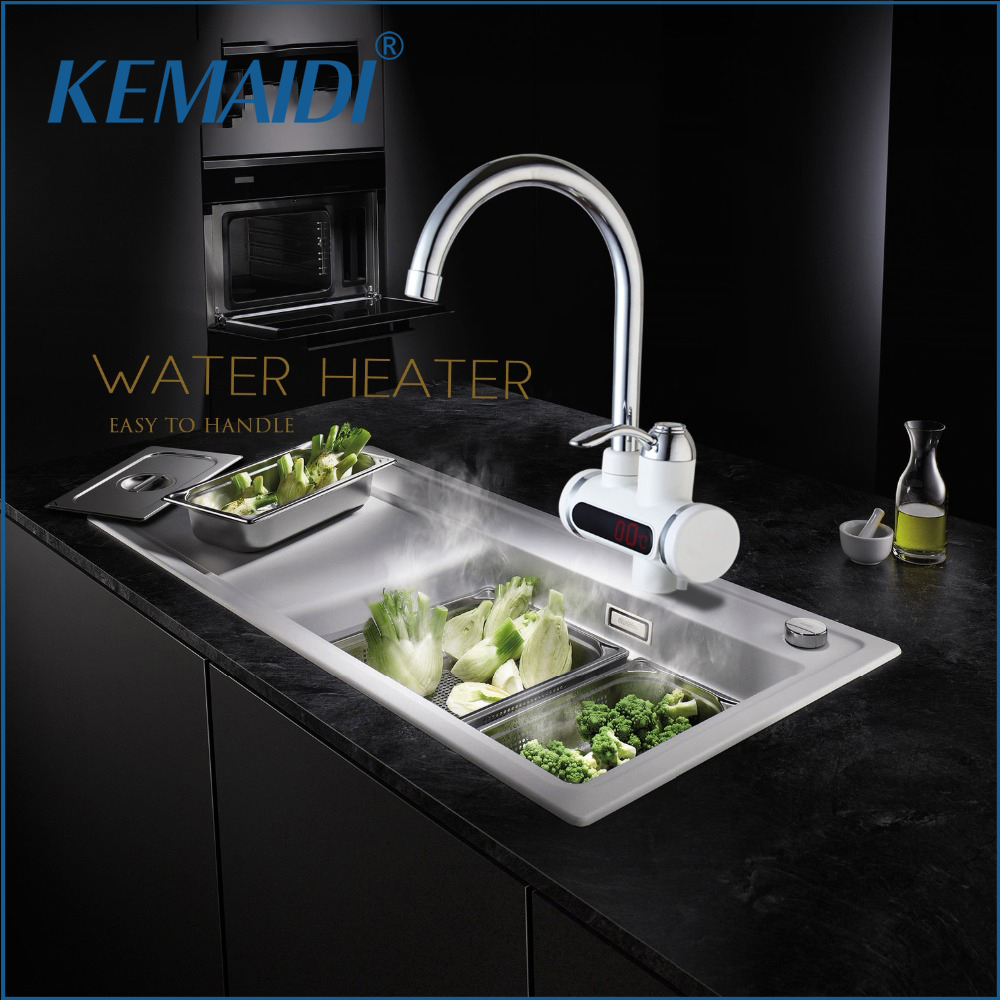 KEMAIDI RU Electric Hot Faucet Water Heater Electric Water Heating Tankless Kitchen Faucet Digital Display Instant
