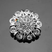 20 шт 22 мм блестящая металлическая круглая Хрустальная пуговица горный хрусталь Диаманте центральная часть Золото Серебро для DIY одежды Browband аксессуары
