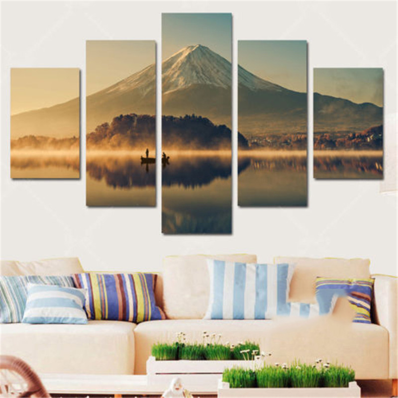Wall art canvas paintings living room mount fuji 5 panels wall decora for living room home office artwork giclee wall art decor in painting calligraphy