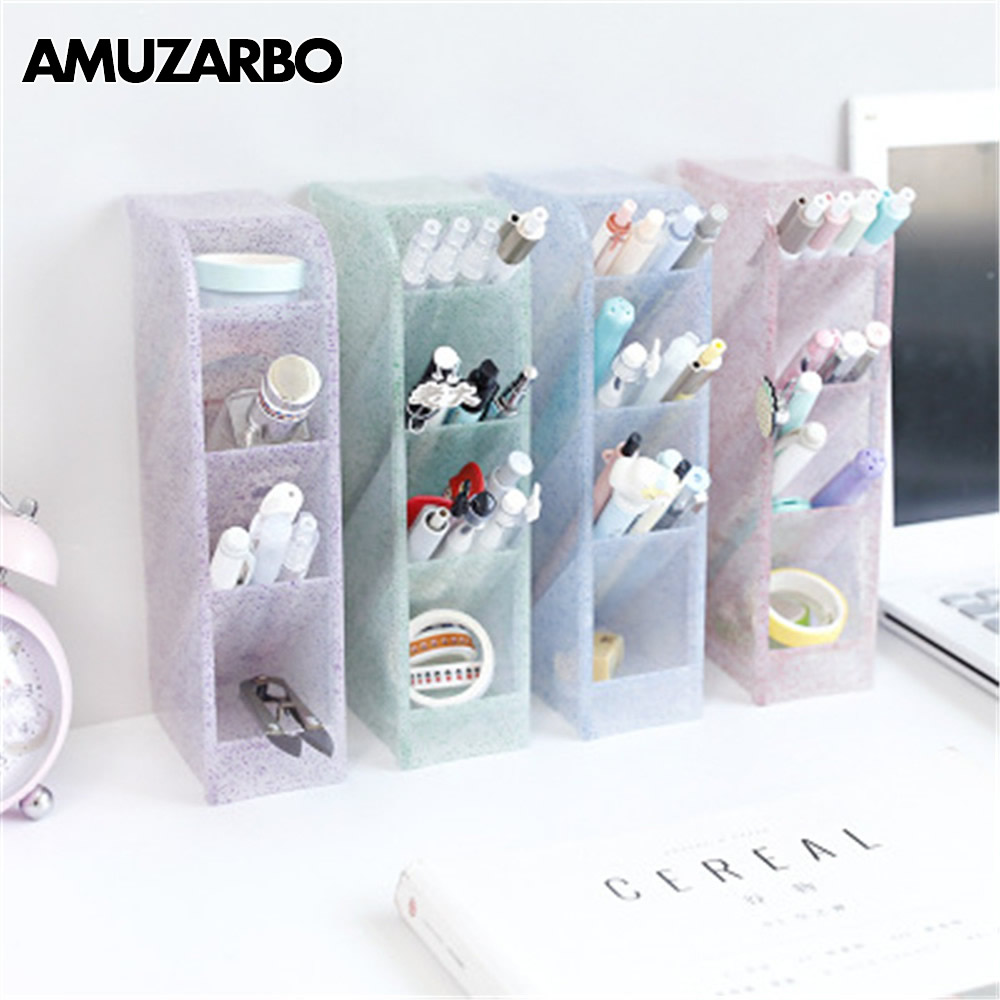1pcs Multi-functional Obliquely Inserted Tassel Powder Penholder Office Desk Receipt Box Stationery Shelf Make-up Brush Receiver