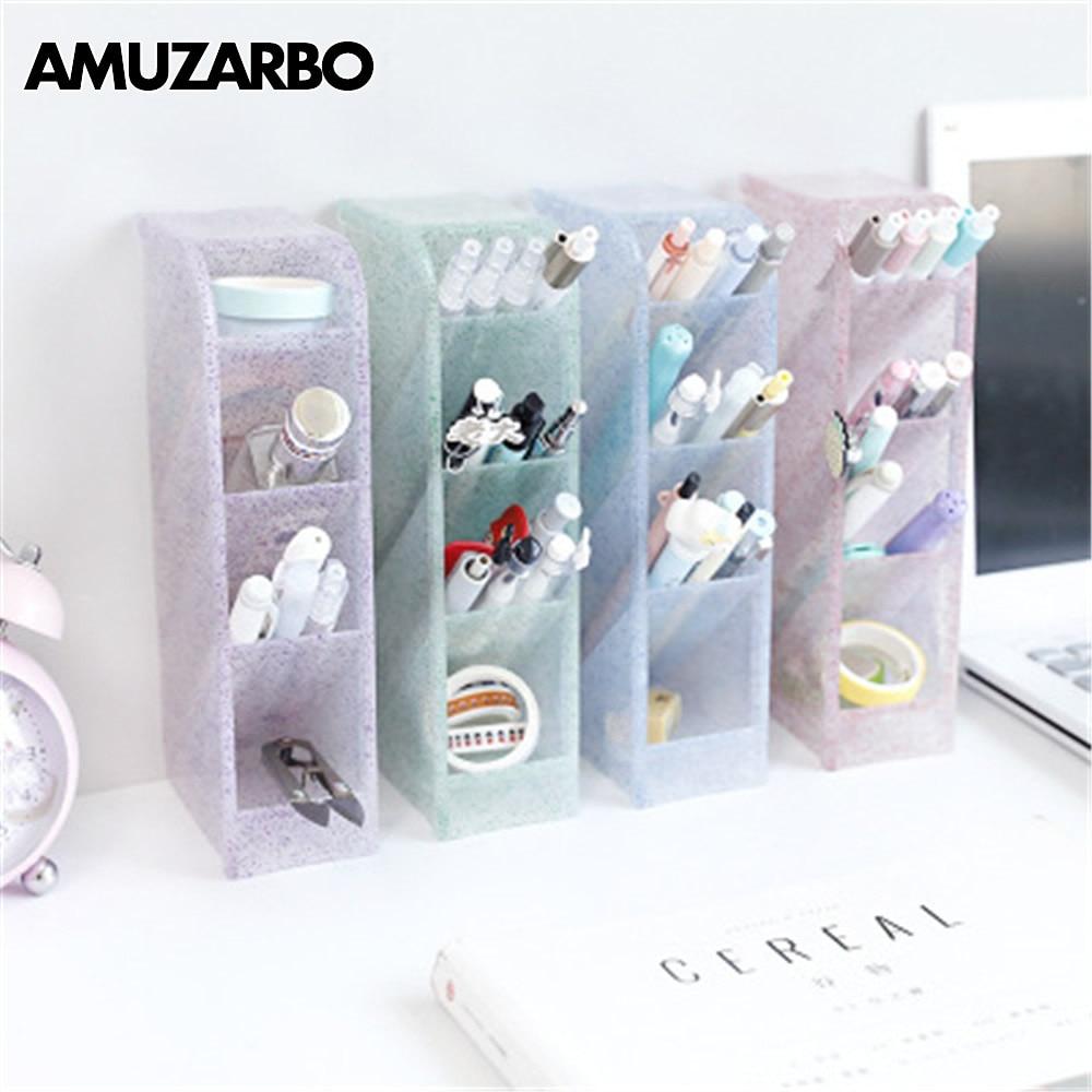 1pcs Multi-functional Obliquely Inserted Tassel Powder Penholder Office Desk Receipt Box Stationery Shelf Make-up Brush Receiver