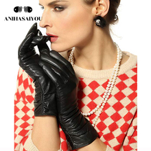 Fashion leather gloves for women,Genuine Leather,High-grade Black,25 cm,Female leather gloves,womens sheepskin leather gloves