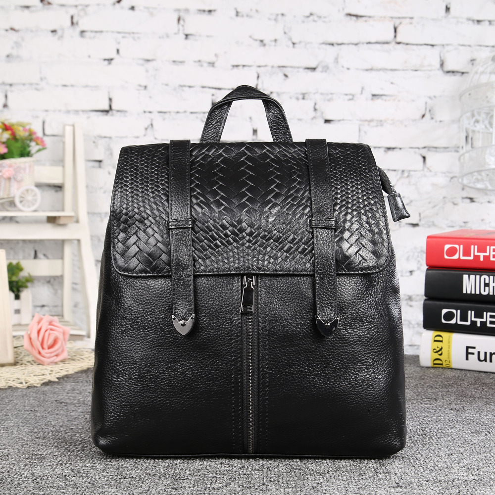 ФОТО Women Backpack Genuine Leather Black Cowhide Travel Casual Daypack Korean Style Solid Ladies Backpack Girl School Bags 6183