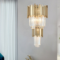 Single/Double Floor Crystal Wall Lamps Modern Living Room led Crystal Wall Sconces for hotel Bedroom Aisle Bathroom Light
