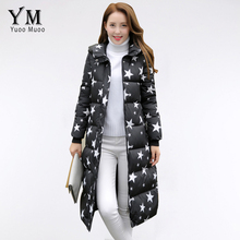YuooMuoo 2016 Long Down Jacket Star Printed Thick Women Winter Coat Cotton Padded Parka Female Overcoat Plus Size Women Jacket