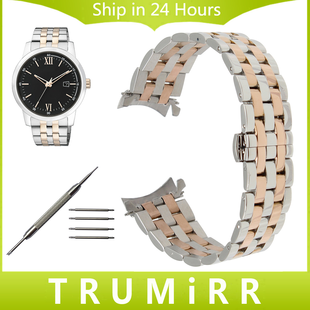 Curved End Stainless Steel Watch Band for Citizen Eco-drive Machanical Men Women Butterfly Clasp Wrist Strap 18mm 20mm 22mm 24mm сковорода биол 26 см со съемной ручкой