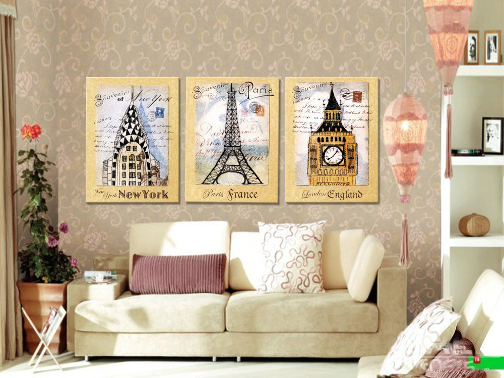 3pcs Set Modern Home Decorations Wall Art Canvas Print Paintings Pictures New York London Paris