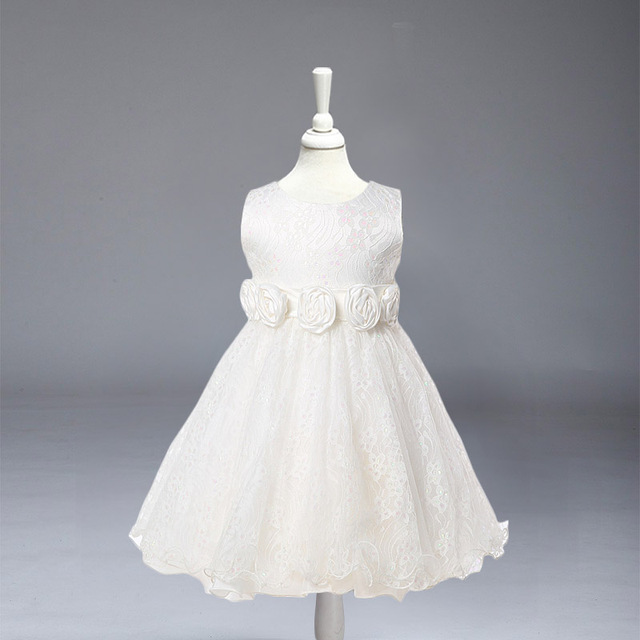 L-88 Retail kid girl dresses White lace dress for wedding party  Children princess dress