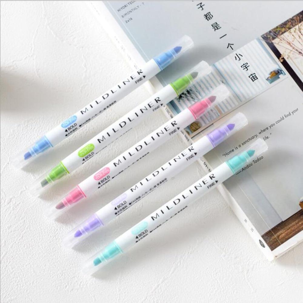 Winzige Korea Creative Double Headed Mildliner Highlighter Pen Bullet Journal Marker School Office Chancery Cute Stationery