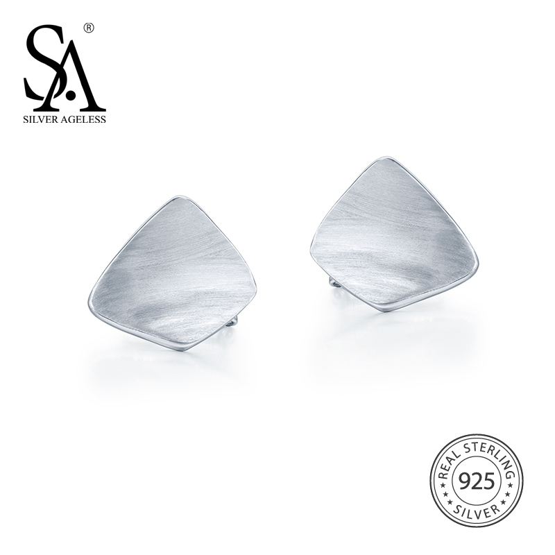 AGELESS Silver Color Geometric Stud Earrings for Women 925 Sterling Silver Fashion Simple Big Square Earrings Fine Jewelry yoursfs women round earrings vintage zinc alloy simple geometric stud earrings jewelry female gift