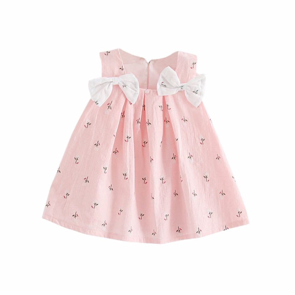 2018 New Summer Kids Clothes Baby Girls Dresses Suspenders Print Bow Vest Children Clothing Vestidos 0-2T