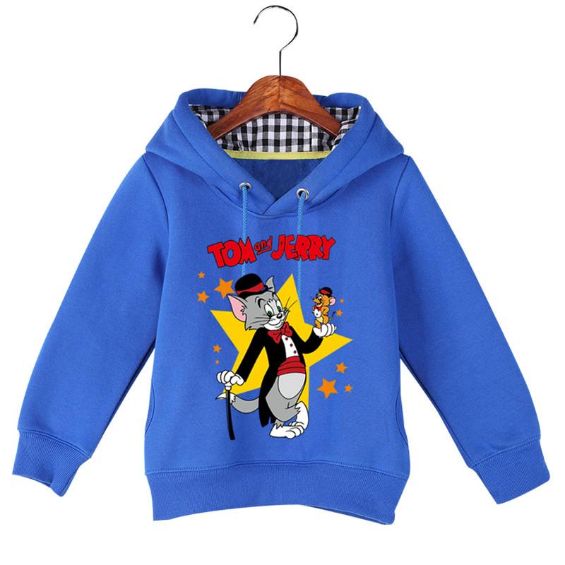 Jiuhehall Good Quality Boy Girl Plus Velvet Sweatshirts Cat and Mouse Print Kids Hooded Hoodie Cotton Children\'s Pullover GCM130 (2)