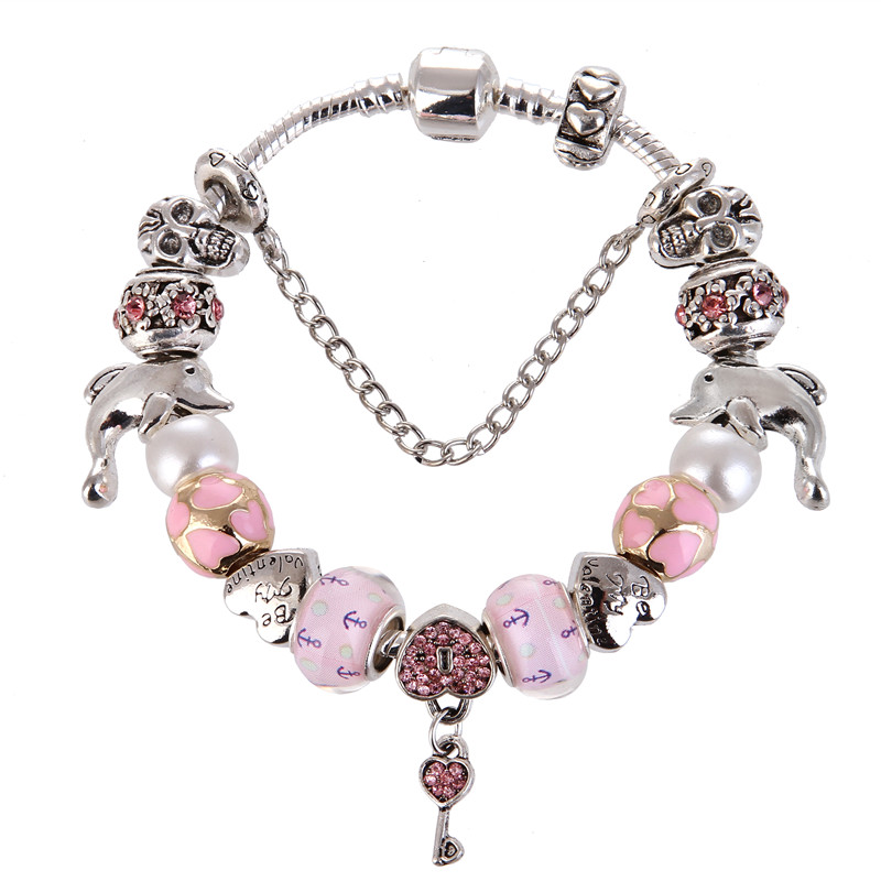 European Style Vintage Silver plated Pink Bead Key Pendant Charm Pretty Fashion Pandora Bracelet For Women/Gril gift jewelry