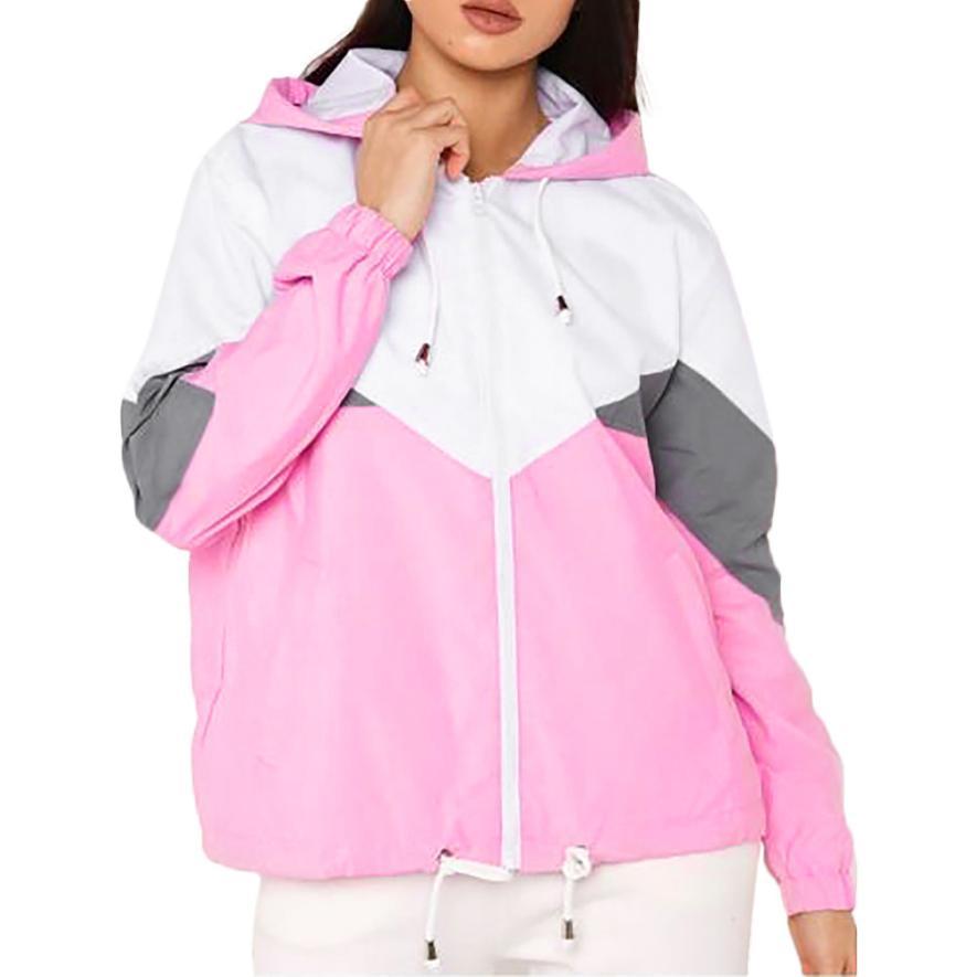 2018 Women Autumn Long Sleeve Thin Skin Suits Hooded Sweatshirt Zip Stitching Coat Pockets Sports Jacket Coat Pink Black Green