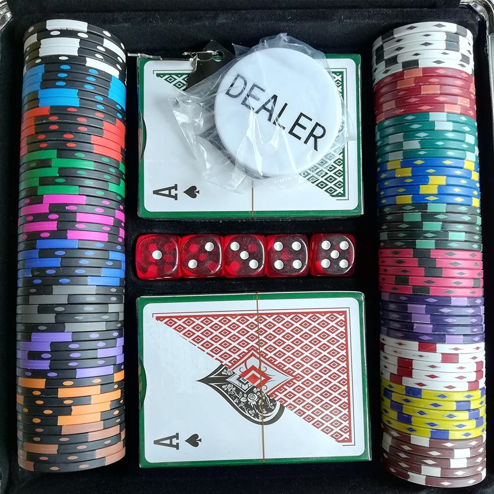 Pokerchips Set Casino Chips Texas Holdem Poker Aluminium Box Set 100 Chips + 2 Poker + 5 Würfel + 1 Dealer Fichas Poker Hohe Qualität