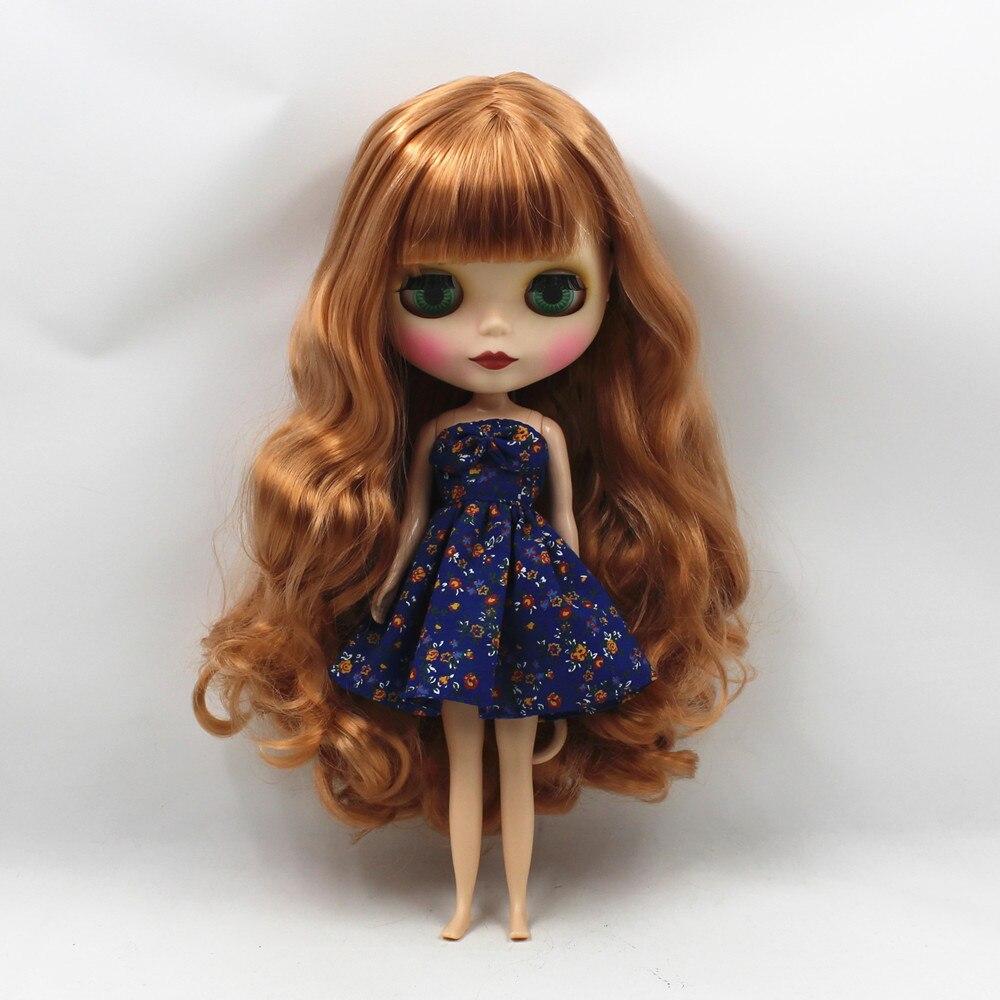 260BLKN1533/F8112S matte gesicht braun curly lange haar mit pony normalen körper nude puppe geeignet für ändern DIY-in Puppen aus Spielzeug und Hobbys bei  Gruppe 3