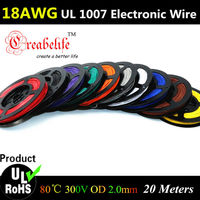 20 Meters Roll 18 AWG Flexible Stranded 10 Colors UL 1007 Diameter 2 0mm Electronic Wire