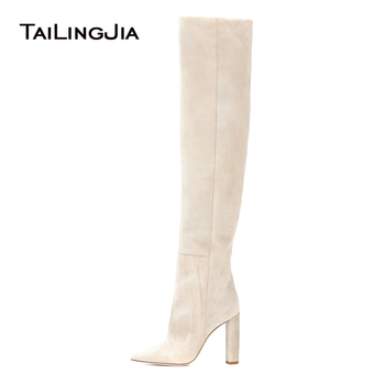 Women Beige Faux Suede Over The Knee High Slouchy Boots Pointy Toe Chunky Heel Slouch Long Boots Ladies Winter Heeled Shoes 2018