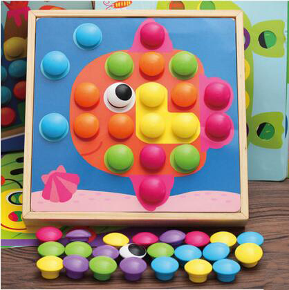 MamimamiHome Baby Wooden Toy Creative Mushroom Nail Combination Fight Board Children Early Education Puzzle Toys Puzzles kids wooden toys nut combination puzzles early learning game jigsaws nut kits for children