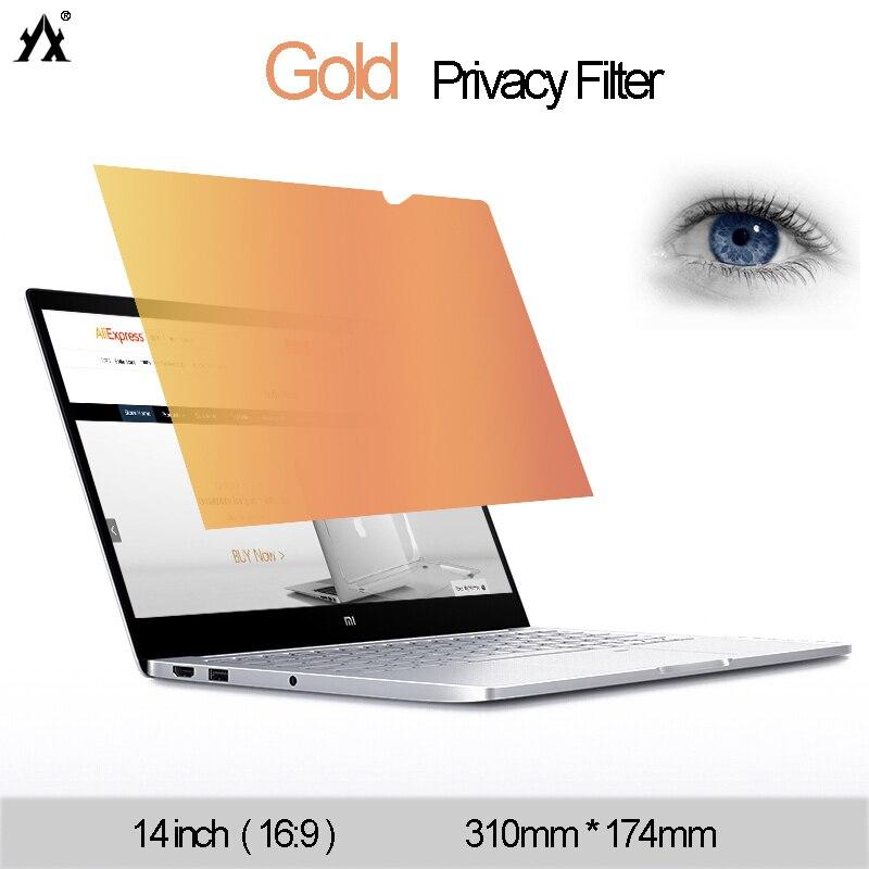 14 Zoll Für Notebook 16:9 Laptop Skins Computer Monitor Film Elegantes Und Robustes Paket Gold Privatsphäre Filter Anti-glare Display-schutzfolie 310mm * 174mm