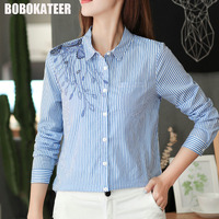 BOBOKATEER Top Women Blouses Embroidery Blouse Long Sleeve Shirt Women Tops Vetement Femme Blusas Mujer De