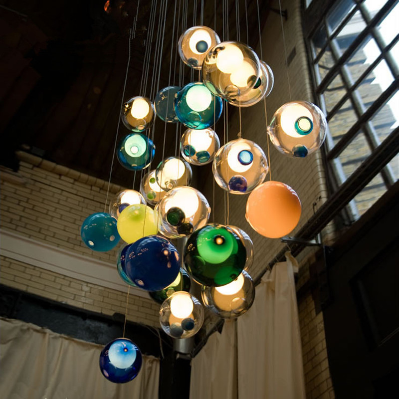 Modern Bubble Pendant Lights Glass Ball LED Pendant Lamps Stair Ceiling Hanglamps Villa Light Fixtures Indoor Lighting minimalist villa long lighting stairs lights white ceramic stair stair lamp pendant lamps rotating modern pendant lights