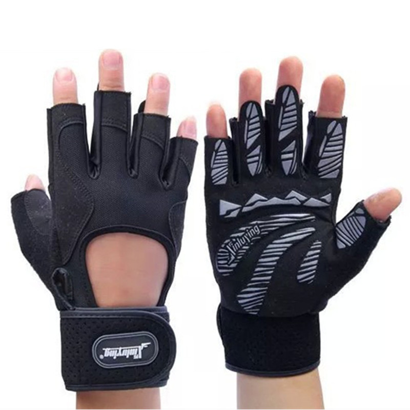 Men Brand Body Building Fitness Weight lifting Exercise Gel Palm Gloves Breathable Non-slip Long Wrist Wrap Black Luvas Mittens