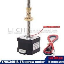 3d printer motor 34mm Nema17 stepper motor with T8 screw lead 8mm 300mm 42 motor 42BYGH 17HS3401S T8 for Z axis long screw