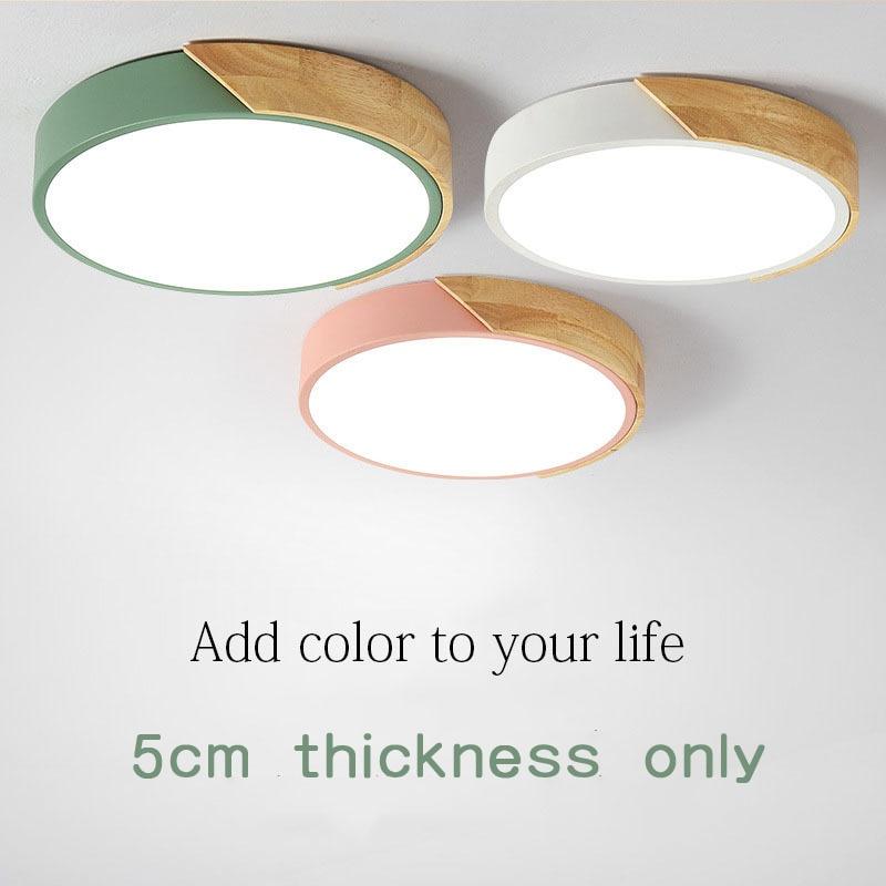 New design LED Wood Ceiling Lights In Round Shape lamparas de techo For Bedroom Balcony Corridor Kitchen Lighting Fixtures