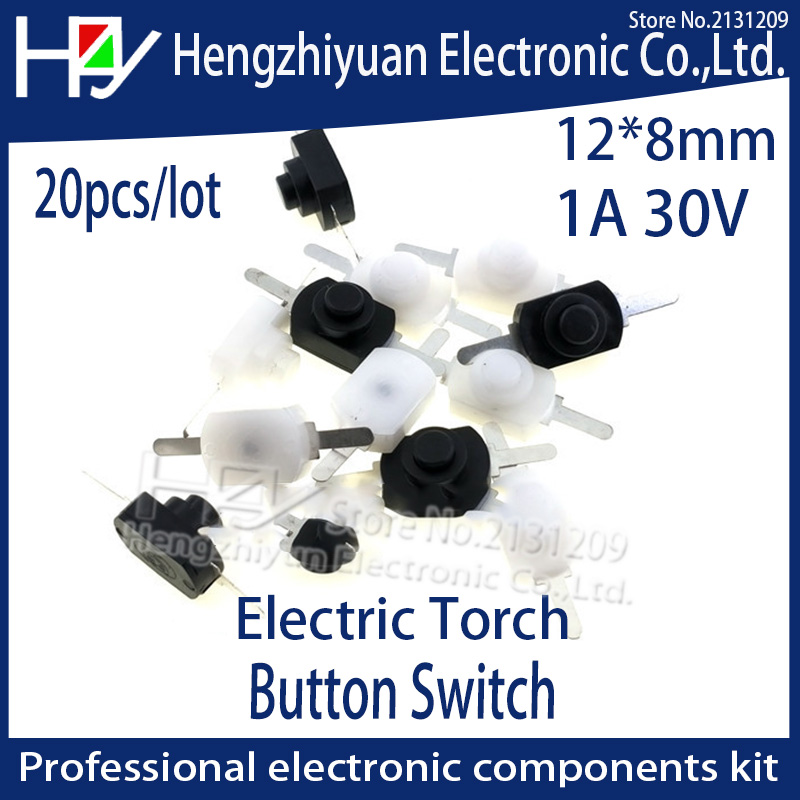 Hzy Free shipping 20pcs/lot DC 30V 1A White Black On Off Mini Push Button Switch for Electric Torch Flashlight Button Switch