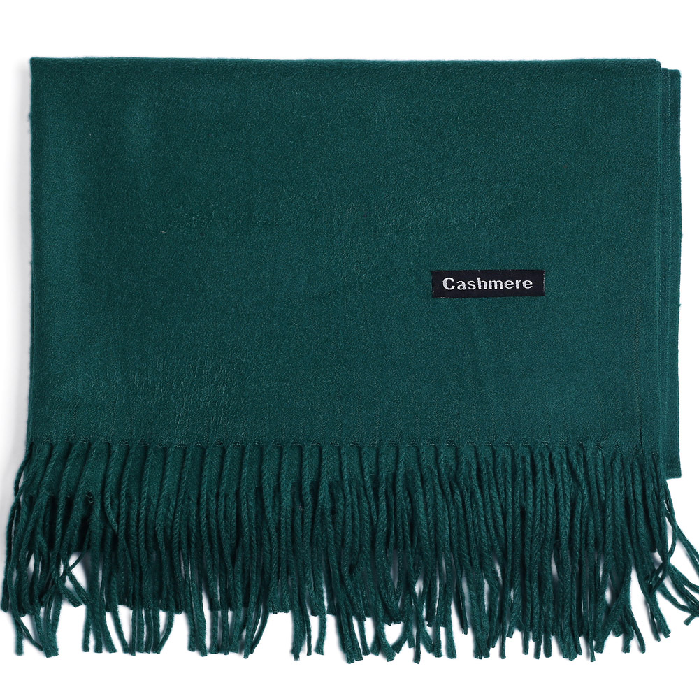 Fashion Cashmere Scarf Shawl Solid Autumn Winter Wrap Warm High Quality Soft Hijab Thick Lady Women Pashmina Luxury Dark Green