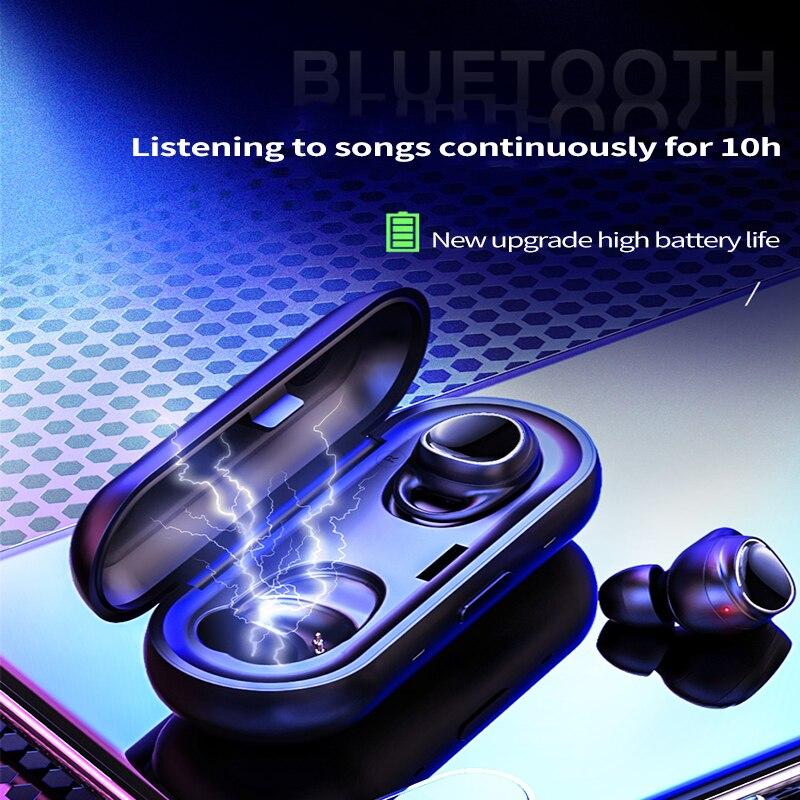 Bluetooth 5.0 subwoofer waterproof Bluetooth headset sports 3D stereo 6D surround sound smart fingerprint touch headphones