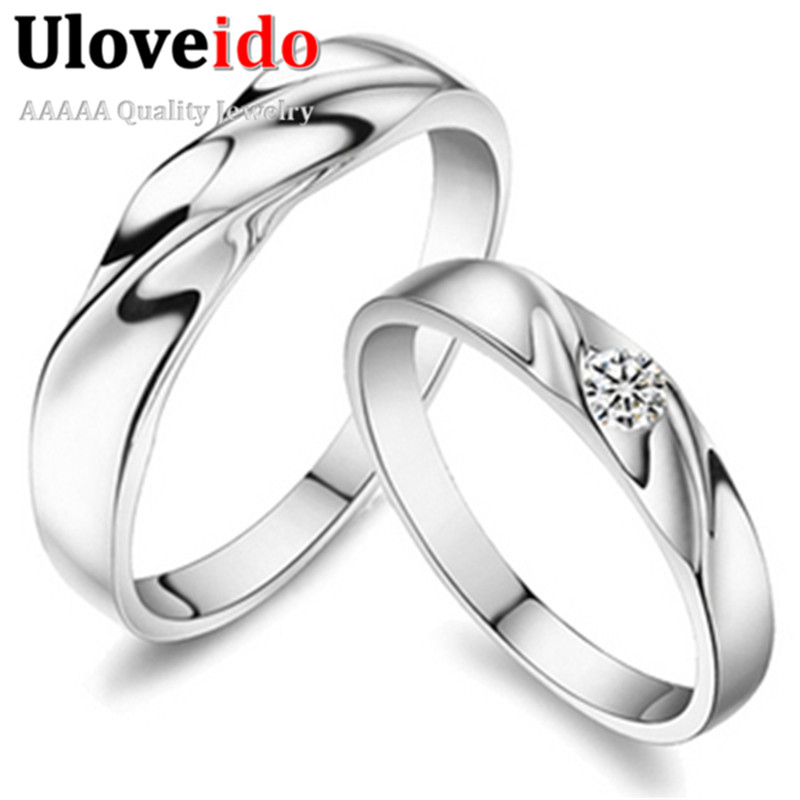 Sold by Pair Wedding Couple Rings for Men and Women Twist Cubic Zirconia Rhinestone Vintage Engagement Jewelry Uloveido J061