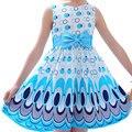 2016 Summer Baby Girls Fashion Dress Children Princess Peacock Pattern with Bowknot Cotton Sleeveless Vestidos Kids Cute Clothes