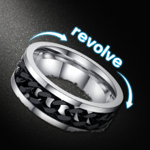 Fashion Men's Ring The Punk Rock Accessories Stainless Steel Black Chain Spinner Rings For Men