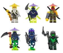 цена на 6pcs Decool Mini Ninja go Figures Morro Ronin Ghoultar Acher Cowler Building Blocks Set Lepine Toy Compatible legoINGlys brick