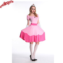Pink Sleeping Beauty Adult Princess Peach Costume Women Princess Party Cosplay Clothing in Super Mario Brother Halloween Costume