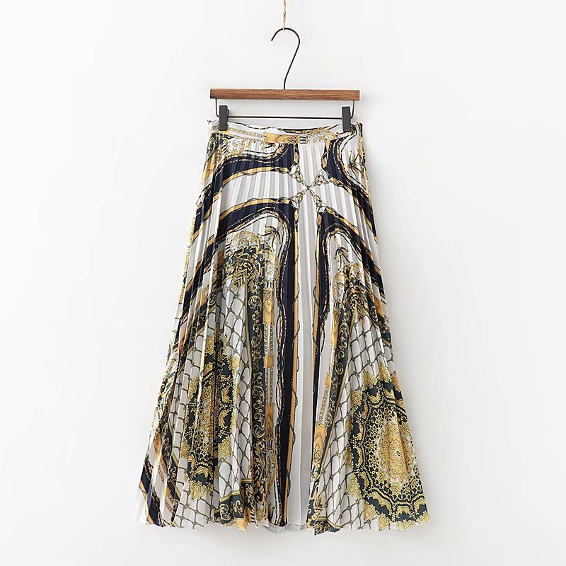 2019 Women Fashion Chain Patchwork Print Retro Midi Skirt Faldas Mujer Side Zipper Irregual Hem Casual Pleated Skirts QUN256