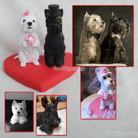 ooak polymer clay pet dog birthday cake decoration topper decor wedding decoration cake topper with heart base gift doll