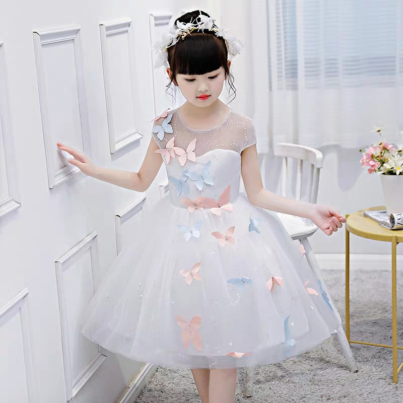 White Color Baby Little Kids Butterfly Decoration Birthday Wedding Party Ball Gown Mesh Dress Children Elegant