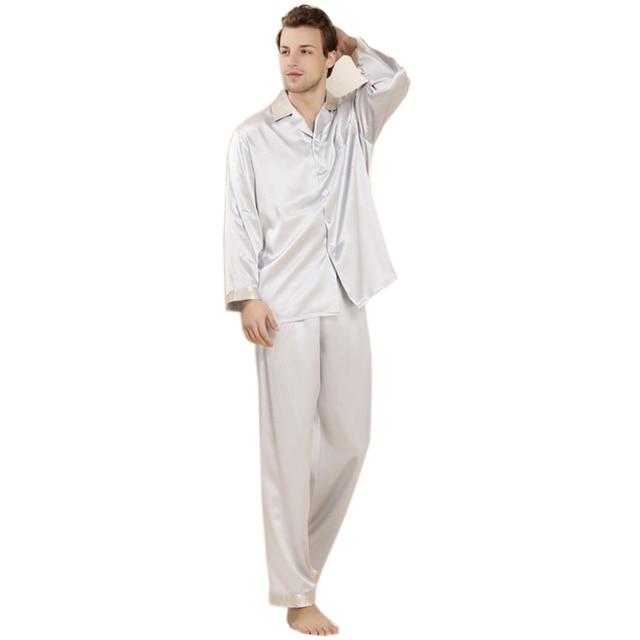 Человека пижамы-наборы 100% натурального шелка любители пижамы 2016 новый салон одежда весенние подарки отложным воротником AU80039
