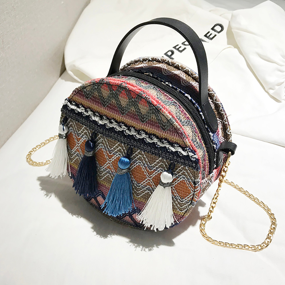 Women Tassel Chain Small Bags national wind round bag packet Lady Fashion Round Shoulder Bag Bolsos Mujer#A02 98
