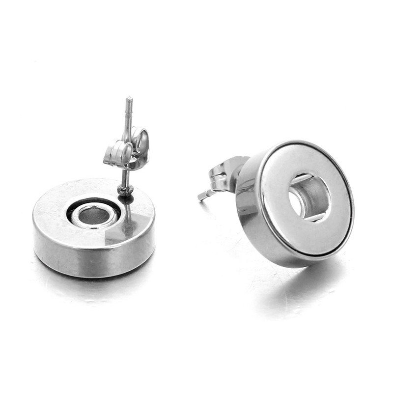 New Snap Jewelry Stainless Steel 12mm Snap Earrings Mini Button Stud Earring Fit 12mm Snap Button Wholesale image