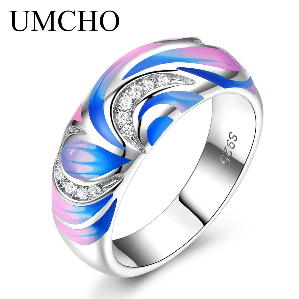 UMCHO 925 Sterling Silver Rings for Women Flower Party Fashion Jewelry Colorful Enamel Handmade Party Wedding Ring Fine JewelryUMCHO 925 Sterling Silver Rings for Women Flower Party Fashion Jewelry Colorful Enamel Handmade Party Wedding Ring Fine Jewelry