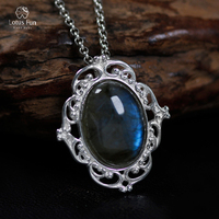Lotus Fun 925 Sterling Silver Pendant for Women/Men Natural Oval Labradorite Hollow Valentine's Day Fine Jewelry Dropshipping