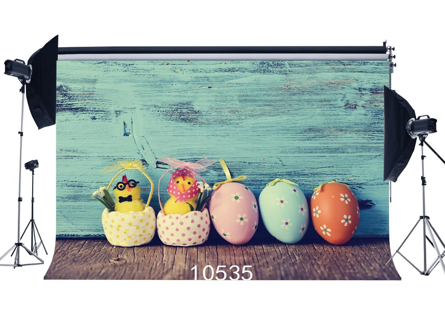 Photography Backdrops Rustic Color Paint Wreathered Wooden Floor Easter Eggs Chick Flower Portraits Background-in Photo Studio Accessories from Consumer Electronics