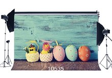 Photography Backdrops Rustic Color Paint Wreathered Wooden Floor Easter Eggs Chick Flower Portraits Background