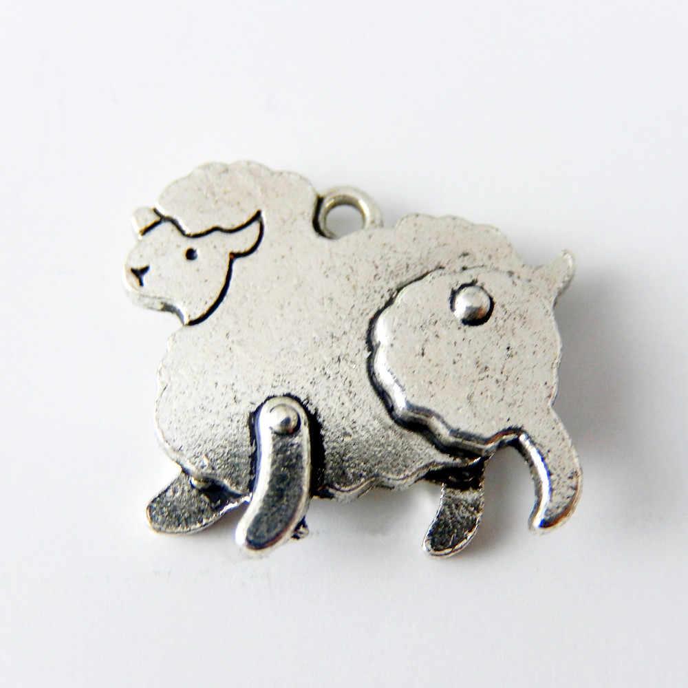 Оптовая продажа женские 10 pcstopanic серебряный сплав механические Овцы Подвески мелкая фурнитура для украшений для ожерелья 20*18*3 мм 50891