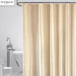Image 1 - XYZLS Modern duş perdesi su geçirmez küf geçirmez Polyester banyo perdesi kare ızgara banyo perdeleri kanca ile