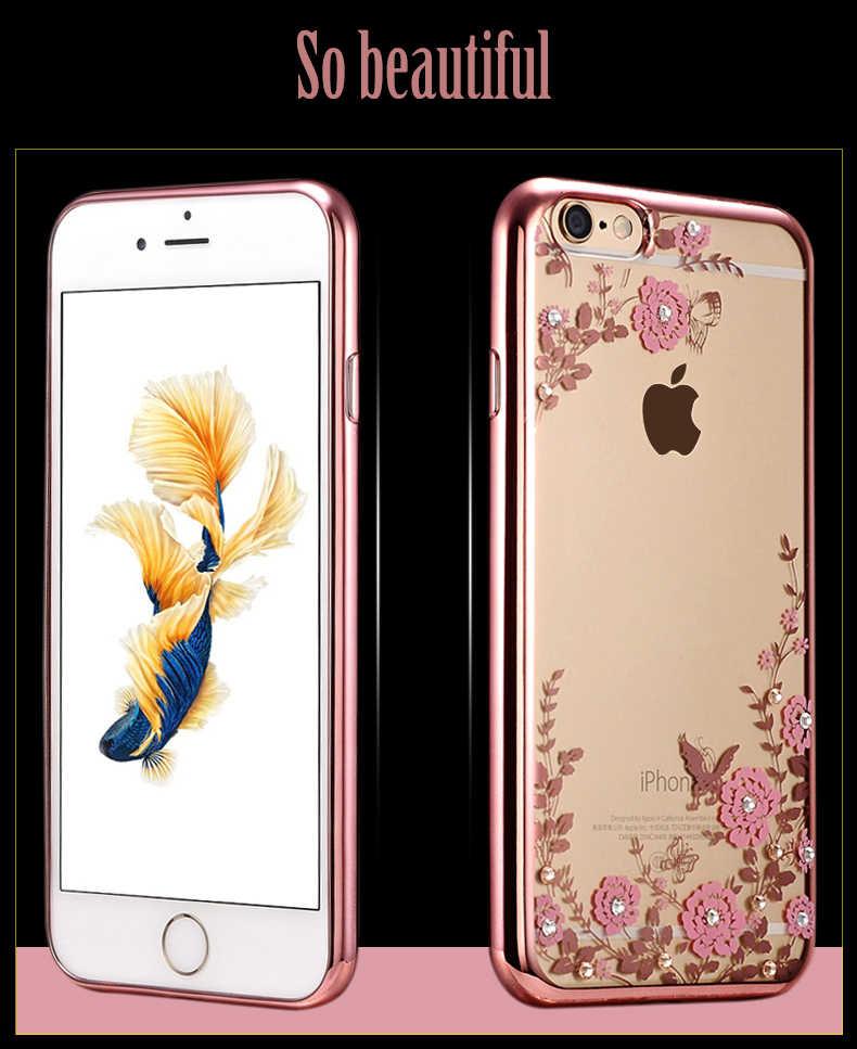 กรณีหรูหราสำหรับ iPhone X 8 7 6 5 วินาที SE 5 วินาที 6 วินาที Plus 6 Plus 6 sPlus 7 Plus 8 Plus ฝาครอบซิลิโคน Ultrathin Glitter ที่อยู่อาศัย